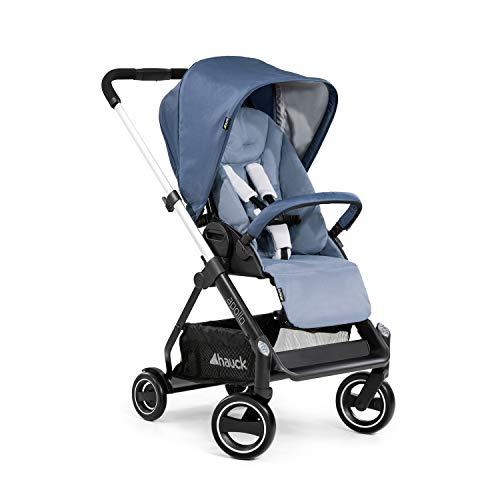 Hauck Kinderwagen inkl. Beindecke Apollo / Belastbar bis 25 kg / Wendbar / Höhenverstellbar / Kompakt Faltbar / Reflektoren / Kompatibel mit separater Babywanne & Babyschale / Denim Blau