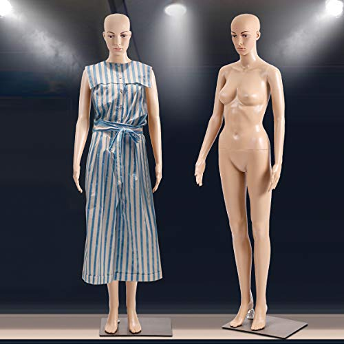 Mannequin Torso Dress Form Manikin 69 Inches Female Realistic Full Body Model Stand with Metal Base Display Head Turns Plastic Adult Woman Adjustable Detachable Poseable Mannequin