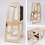 Montessori - Tour d'apprentissage 2 en 1 - Tour d'apprentissage pour enfants de 1 an - Table et chaise avec tableau noir...