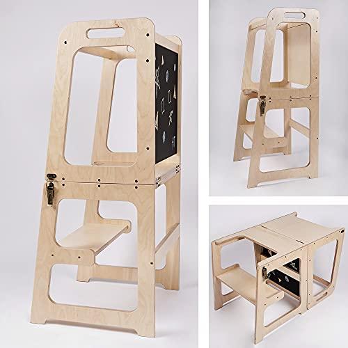 Montessori - Torre de aprendizaje para cocina 2 en 1, torre de aprendizaje para 1 año, mesa y silla con pizarra, ayudante de cocina plegable (lacado natural)