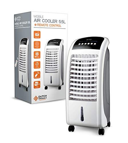 DUTCH ORIGINALS 5,5l Luftkühler mit Timer und Fernbedienung, Mobiler Verdunstungskühler mit Wasserkühlung, Mobiles Klimagerät mit 3 Geschwindigkeiten, Mobile Klimaanlage 70 cm hoch, 65 Watt