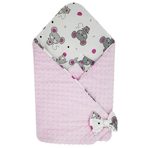 BlueberryShop Minky Fleece Baby Swaddle Wrap Car Seat Deken | Tweezijdige Slaapzak voor pasgeborenen | Bestemd voor kinderen leeftijd 0-3 Maanden | Perfect als baby douche Gift | 78 x 78 cm | Roze
