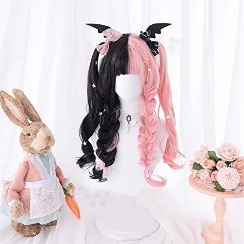 60 cm de long onduleux Noir Mixte Rose Ombre Bangs synthétique résistant à la chaleur mignon Party cosplay perruque Perruque (Color : Black Mixed Pink, Stretched Length : 24inches)