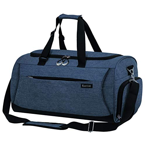 Kuston Sports Gym Bag with Shoes Compartment &Wet Pocket Gym Duffel Bag Overnight Bag for Men and Women