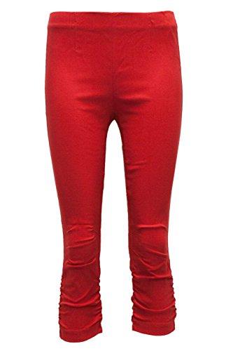 Stehmann Maria-530, stretchige Caprihose, seitlich gerafft Größe 38, Farbe rot