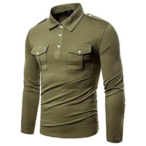 Camisetas polo masculinas de manga comprida e algodão da VITryst; Camisetas polo de cor lisa com bolsos duplos, Army Green, X-Large