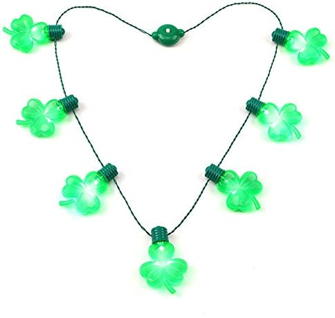 St Patricks Day String Necklace Shamrock Green Clover Accessories for Festivals Parades and product image