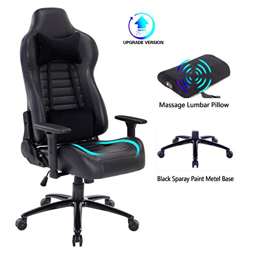 Blue Whale Massage Gaming Office Chair - Metal Base and Special Wave Support,High Back Reclining Racing Game Computer Desk Chair,Ergonomic Leather Executive Chair with Headrest and Lumbar Pillow 8301 chair gaming