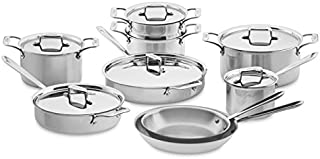 All-Clad SD501015-R D5 Polished Stainless Steel 5-Ply Bonded Dishwasher Safe Cookware Set, 15-Piece