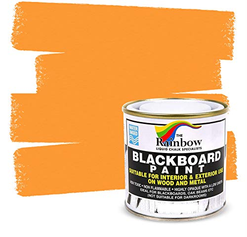 Chalkboard Blackboard Paint - Orange 8.5oz - Brush on Wood, Metal, Glass, Wall, Plaster Boards Sign, Frame or Any Surface. Use with Chalk Pen Wet Erase, Safe and Non-Toxic - Matte Finish