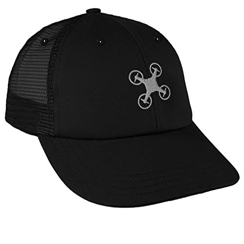 Trucker Hat Baseball Cap Drone Picture B Embroidery Cotton Dad Hats for Men & Women Snapback Black Design Only