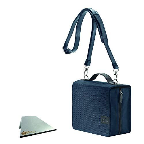 SchönfelderSkin in Farbe blau mit Buchstütze: Buchhüllen-Tasche mit Buchstütze und Tragegurt in Material Nylon/Leder, Farbe blau