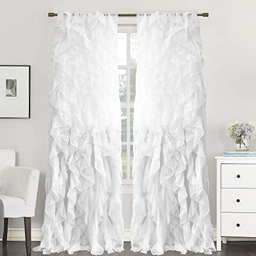 """Sweet Home Collection 2 Pack Window Treatment Sheer Cascading Panel Vertical Ruffled Curtains in Many Sizes and Colors, 84"""" x 50"""", White"""