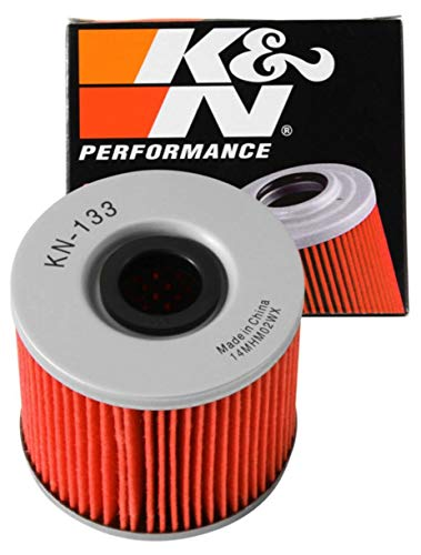K&N Motorcycle Oil Filter: High Performance, Premium, Designed to be used with Synthetic or Conventional Oils: Fits Select Suzuki, Bimota Vehicles, KN-133,black