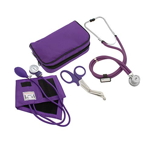 """ASATechmed Nurse/EMT Starter Pack Stethoscope, Blood Pressure Monitor and Free Trauma 7.5"""" EMT Shear Ideal Gift for Nurse, EMT, Medical Students, Firefighter, Police and Personal Use (Purple)"""