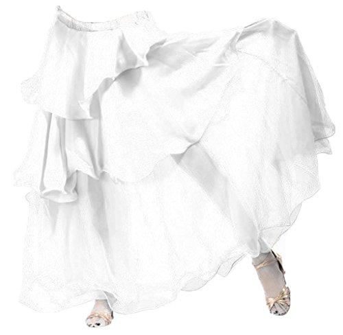 A-Express® gonna per danza del ventre, tango, samba, danze tribali e gitane, lunga a tre strati White Taglia unica