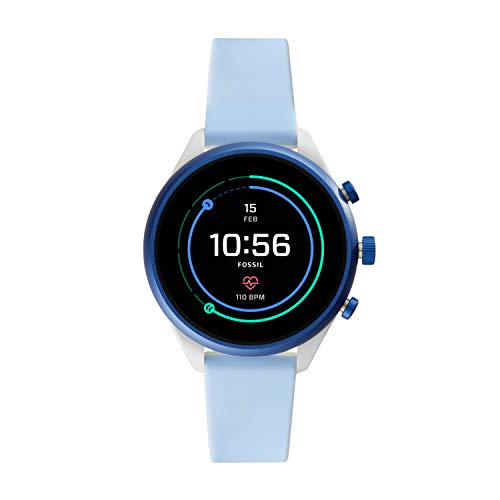 Fossil Women's Gen 4 Sport Heart Rate Metal and Silicone Touchscreen Smartwatch, Color: Blue (FTW6026)