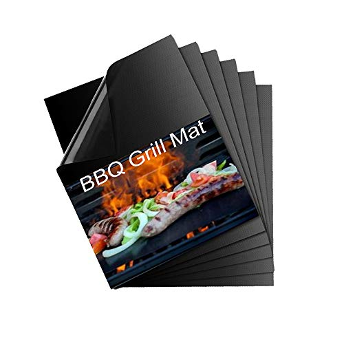 QF Grill Mat, Set of 6 BBQ Grill Mat Nonstick Reusable Barbecue Baking Mat Teflon Cooking Mats for Electric Grill Gas Charcoal BBQ, Easy to Clean Barbecue Grilling Accessories 15.75 13Inch, Black