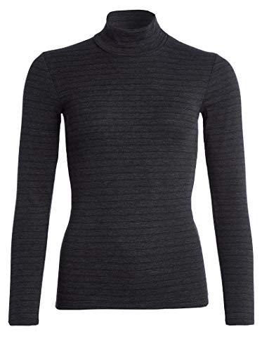 con-ta Thermo Langarm Shirt mit Stehkragen, geringeltes Damenshirt mit natürlicher Baumwolle, wärmeisolierende Unterwäsche, Damenbekleidung, schwarz Geringelt, Größe: 48