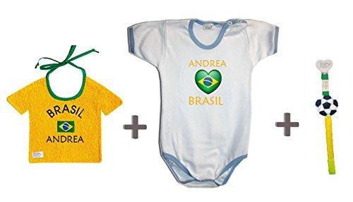 Zigozago - Championnat du monde BRASIL personnalisé Set composé par bavoir + Body + Attache' Tetine