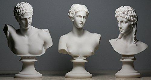 Statue / Skulptur Aphrodite (Venus) & Hermes & Eros, Set mit 3 griechisch-römischen Götter-Büstenköpfen
