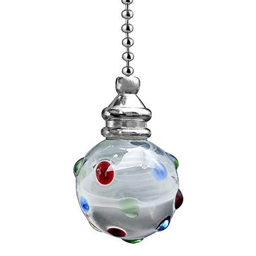 Extensión de cadena de luz con cadena de bolas 100 cm de longitu interruptor de ventilador para luz de inodoro luz de techo tirador de cable de persiana cromo con bola de cristal de colores