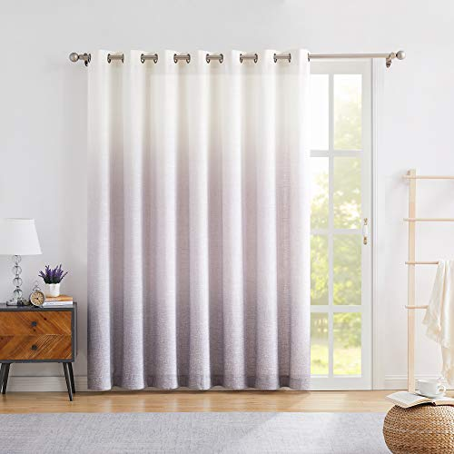"""Central Park Ombre Window Door Curtain 100"""" Extra Wide Linen Ombre Gradient Print on Rayon Blend Treatment for Sliding Patio Door with 14 Grommets,Cream White to Lavender Purple,100"""" x 84"""", 1 Panel"""