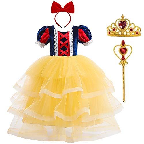 Disfraz de Blancanieves Niña Vestido Largo Tutu Tul Princesa Grimm's Fairy Tales Disfraces para Halloween Navidad Carnaval Cumpleaños Fiesta Comunión con Venda Corona y Varita de Hada 3-8 Años
