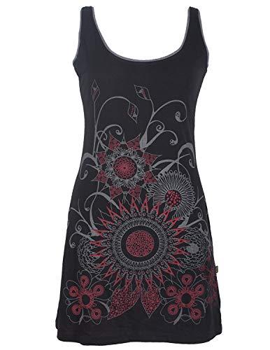 Vishes - Alternative Bekleidung - Ärmelloses Blumenkleid aus Baumwolle mit weitem Ausschnitt schwarz 40