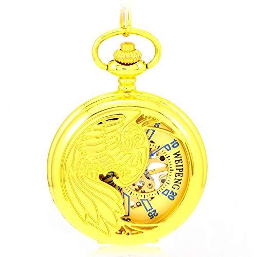 MC-BLL-HUAI BIAO-Pocket Watch Phoenix Hueco Reloj de Bolsillo Retro Oro Reloj mecánico de Bolsillo Masculino y Femenino Antiguo Mesa de antigüedades, diámetro de cuadrante: 4.7 cm