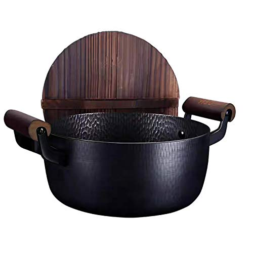 ZPFDM Quality Dual Handles Cast Iron Oven Pot, 4.2-Quart Hand Made Large-Capacity Non-Stick Coated with Lid Wooden Handle Soup Pot, for Home Kitchen Outdoor