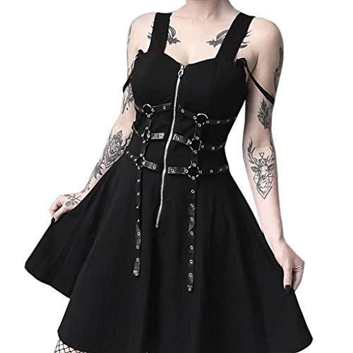 FRAUIT Damen Gothic Kleid Schwarz Ledergürtel Minikleid Reißverschluss Plissee Strap Kleid Gothic Street Punk Wind Cosplay Kleid Mit Hängende Verzierung