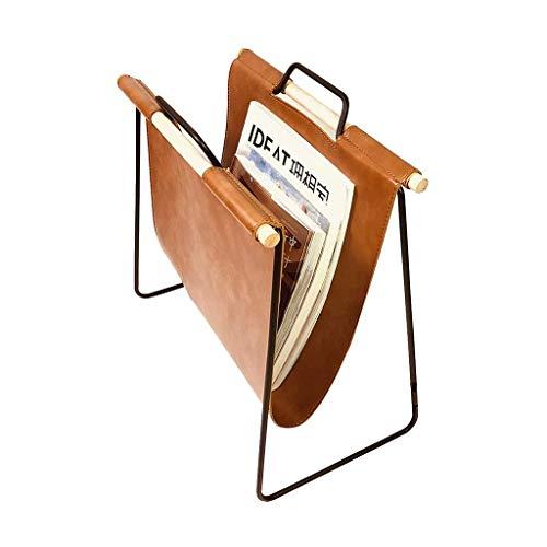 CENPEN Estante, madera de hierro estante de almacenamiento de residuos hogar periódico forjado estante de rejilla moderno piso de cuero estudio estantería café sofá estante (Color: marrón, tamaño: 22
