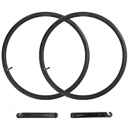 LotFancy 2 Pcs 26' x1.95/2.125 Schrader Valve (32mm) Bike Inner Tubes, 26 Inch Bike Tube for Mountain Bike Tires, Thorn Resistant Bicycle Tube with 2 Nylon Plastic Tire Levers