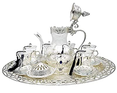 Traditional Ottoman Style Turkish Tea Set for 6 including Large Tray and Teapot Zinc Alloy and Glass (Antique Silver)
