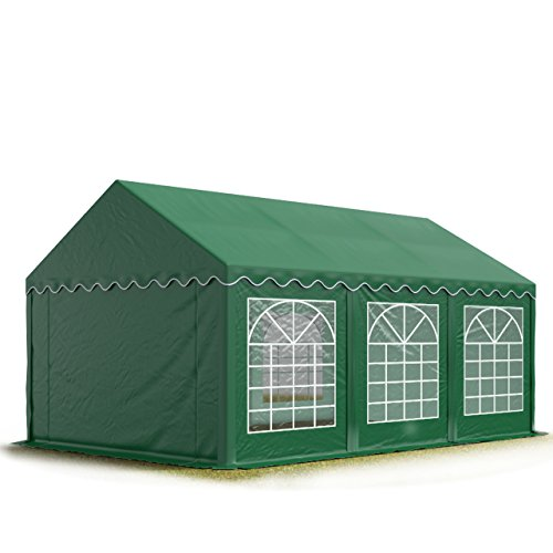 TOOLPORT Party-Zelt Festzelt 3x6 m Garten-Pavillon -Zelt ca. 500g/m² PVC Plane in dunkelgrün Wasserdicht