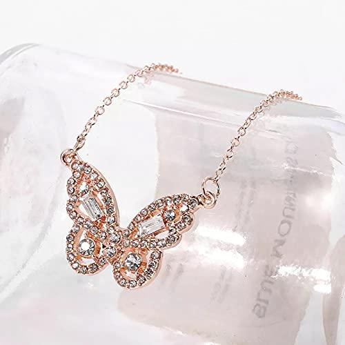 Collar Colgante Bonito colgante de mariposa de circonita collar de cadena larga gargantilla para mujer joyería de moda de Color rosa dorado y plateado Collar amistad Aniversario Regalo