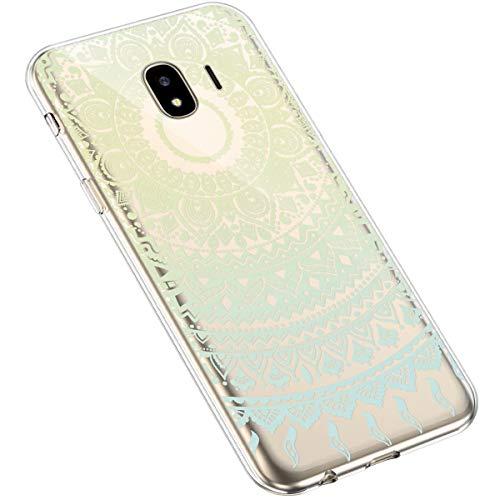 Uposao Kompatibel mit Samsung Galaxy J4 2018 Handyhülle Transparent TPU Silikon Schutzhülle Bunte Gemalt Muster Durchsichtig Case Crystal Clear Handytasche Anti-Kratzer Stoßfest,Blumen Blau