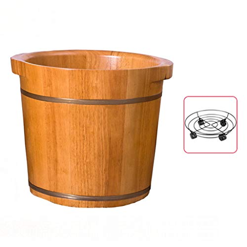 CHY Tonneau De Bain De Pieds, Baignoire De Pédicure en Bois, Masseur De Bain Spa Pied, Réduit La Fatigue Et Améliore Le Sommeil (Color : Wood Color)