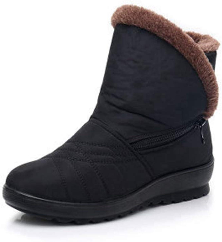 SENERY Women Winter Ankle Boots Flat Comfortable Waterproof Non-Slip Elderly Casual Warm Soft Snow Booties