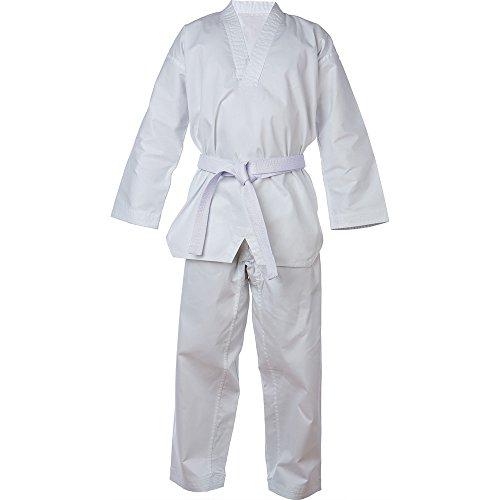Schoen Trek V-hals Taekwondo Uniform Gemaakt van Poly-Katoen 8oz Niet Krimpbaar met Witte Riem en Elastische taille Broek