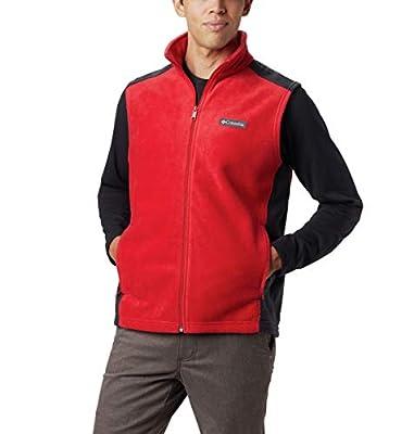 Columbia Men's Steens Full Zip Soft Fleece Vest, Mountain red, Black, XX-Large