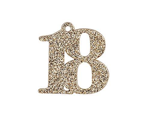 Bomboniera ciondolo legno glitter compleanno 18 anni diciottesimo set 12 pz art 28808