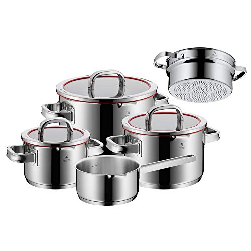 WMF 760066380 Function 4 Cookware Set with Steamer Insert, Stainless Steel, Transparent, 20 cm, 5 Units