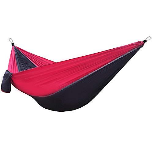Multifuncional Doble Hamaca Camping con Bolsa De Almacenamiento + Cuerda De Amarre,300kg de Capacidad de Carga (300x200cm) Rojo Columpios Exterior para Acampar Y Caminar