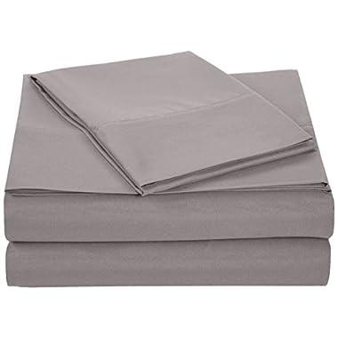 AmazonBasics Microfiber Sheet Set - Twin, Dark Grey, 4-Pack