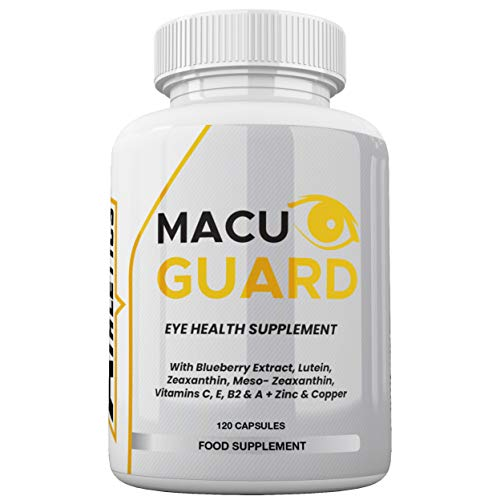 MacuGuard+ Eye Supplement - 120 Capsules - Zeaxanthin, Meso Zeaxanthin, Lutein, Blueberry Extract Plus Vitamins and Minerals - Premium UK Made