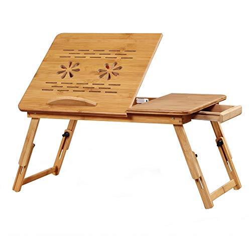 XiuHUa Opvouwbare tafel, bamboe laptop bureau verstelbare computer bureau slaapbank opvouwbare draagbare laptop bureau met koelventilator laptop lade/tafel