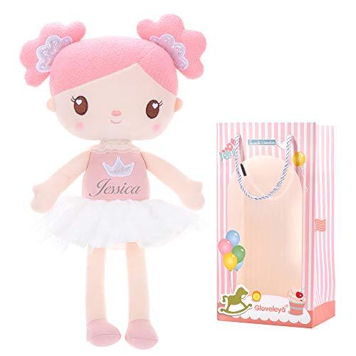 Gloveleya Personalisiert Puppen Babypuppen Weiche Stoffpuppe Puppe Geschenke für mädchen Alter 0+ rosa Süßigkeiten