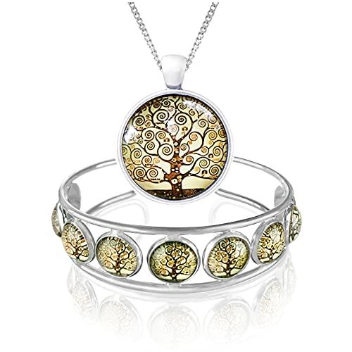 Klimisy - Livets trädsmyckesset med halsband och armband enligt Gustav Klimt – med varje köp planterar du ett träd – högklassigt armband av rostfritt stål och kedjeberlock av glas